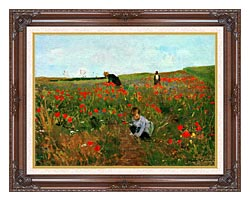 Mary Cassatt Poppies In A Field canvas with dark regal wood frame