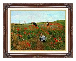 Mary Cassatt Poppies In A Field canvas with dark regal wood frame