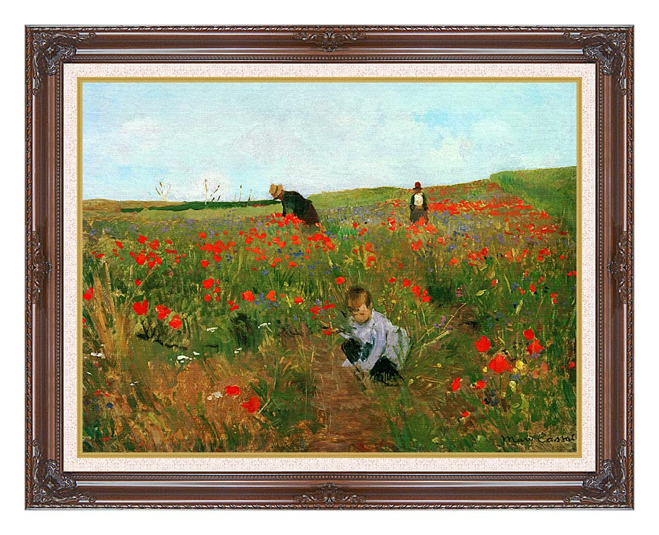 Mary Cassatt Poppies in a Field with Dark Regal Frame w/Liner