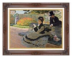 Claude Monet Camille Monet On A Garden Bench canvas with dark regal wood frame