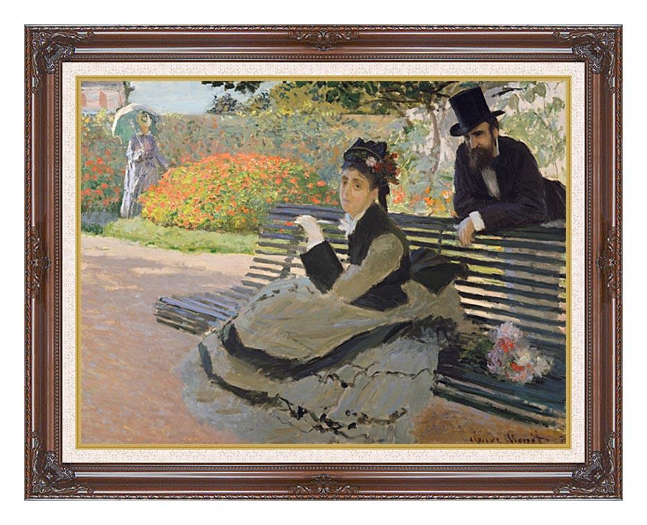 Claude Monet Camille Monet on a Garden Bench with Dark Regal Frame w/Liner