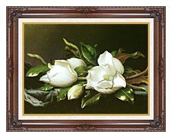 Martin Johnson Heade Magnolias Detail canvas with dark regal wood frame