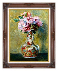 Pierre Auguste Renoir Bouquet In A Vase canvas with dark regal wood frame