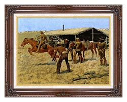 Frederic Remington The Coming And Going Of The Pony Express canvas with dark regal wood frame