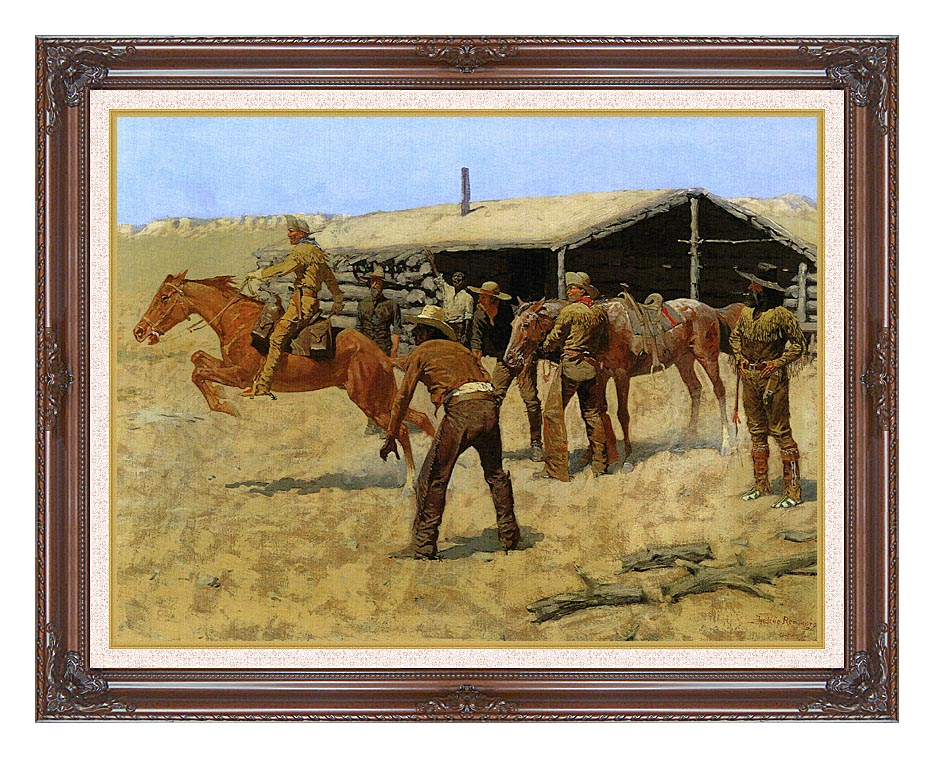 Frederic Remington The Coming and Going of the Pony Express with Dark Regal Frame w/Liner
