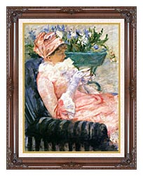Mary Cassatt The Cup Of Tea canvas with dark regal wood frame