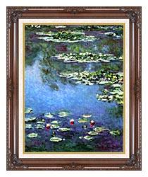 Claude Monet Water Lilies 1906 Portrait Detail canvas with dark regal wood frame