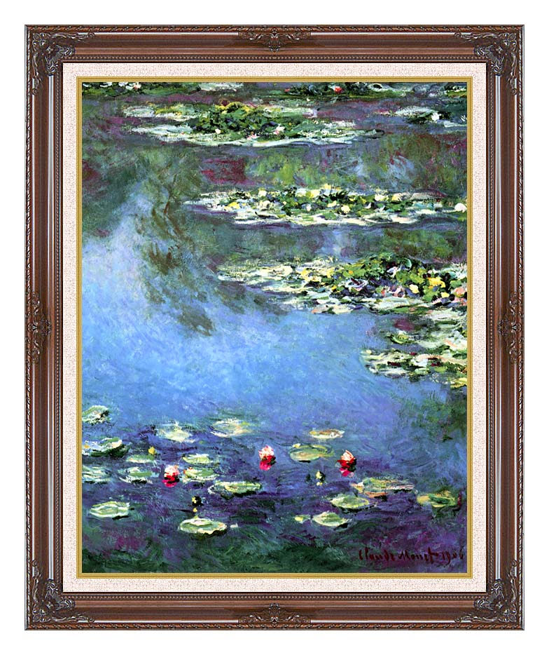 Claude Monet Water Lilies 1906 (portrait detail) with Dark Regal Frame w/Liner