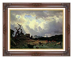 Albert Bierstadt Thunderstorm In The Rocky Mountains canvas with dark regal wood frame