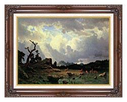 Albert Bierstadt Thunderstorm In The Rocky Mountains canvas with dark regal wood frame