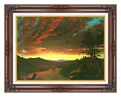 Frederic Edwin Church Twilight In The Wilderness Detail canvas with dark regal wood frame