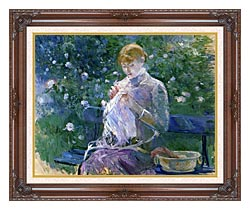 Berthe Morisot Pasie Sewing In The Garden At Bougival canvas with dark regal wood frame