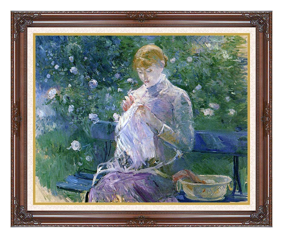 Berthe Morisot Pasie Sewing in the Garden at Bougival with Dark Regal Frame w/Liner