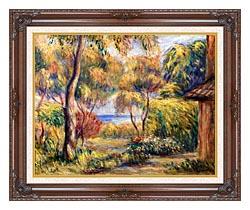Pierre Auguste Renoir Landscape At Cagnes canvas with dark regal wood frame