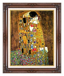 Gustav Klimt The Kiss Detail canvas with dark regal wood frame