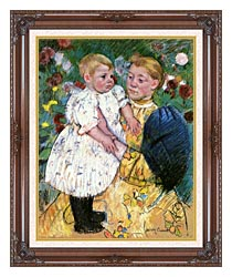Mary Cassatt In The Garden 1893 canvas with dark regal wood frame