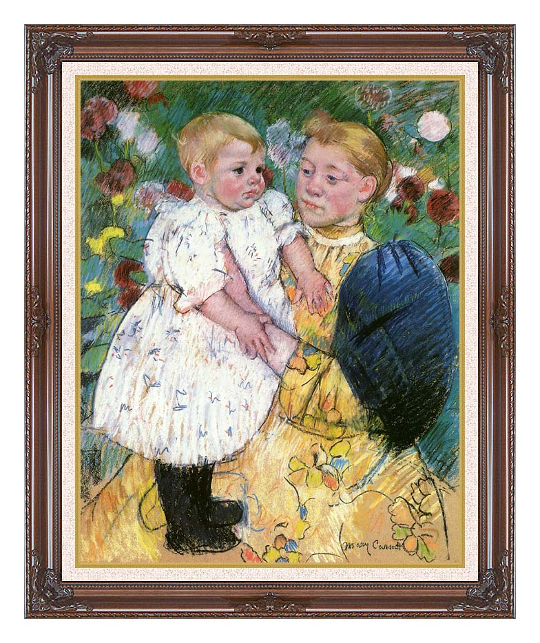 Mary Cassatt In the Garden 1893 with Dark Regal Frame w/Liner