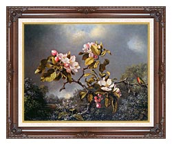 Martin Johnson Heade Apple Blossoms And Hummingbird canvas with dark regal wood frame