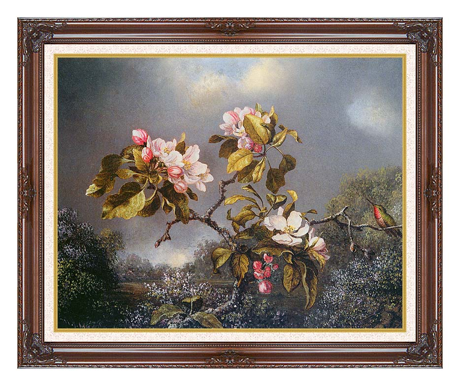 Martin Johnson Heade Apple Blossoms and Hummingbird with Dark Regal Frame w/Liner