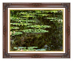 Claude Monet Water Lilies 1904 Detail canvas with dark regal wood frame