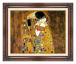 Gustav Klimt The Kiss Landscape Detail canvas with dark regal wood frame
