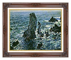 Claude Monet The Pyramids Of Port Coton canvas with dark regal wood frame