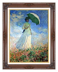 Claude Monet Woman With Umbrella Turned To The Right canvas with dark regal wood frame