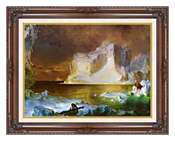 Frederic Edwin Church The Icebergs Detail canvas with dark regal wood frame