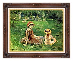 Berthe Morisot In The Garden At Maurecourt canvas with dark regal wood frame
