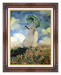 Claude Monet Woman With Umbrella Turned To The Left canvas with dark regal wood frame