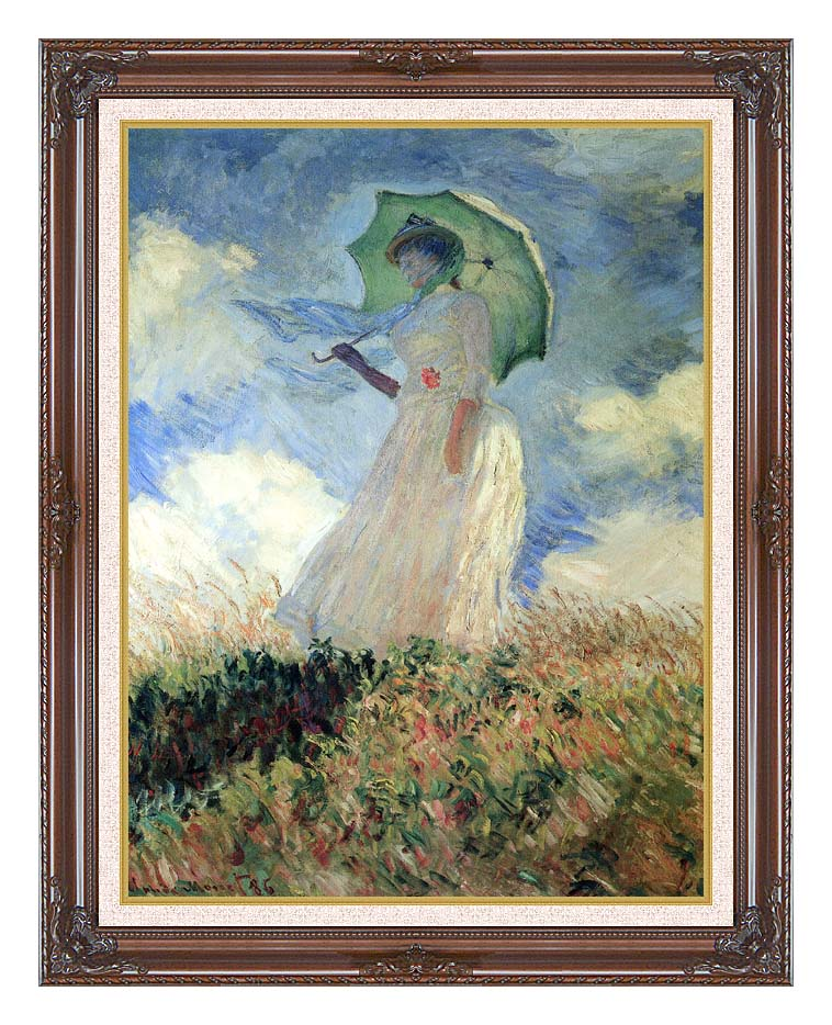 Claude Monet Woman with Umbrella Turned to the Left with Dark Regal Frame w/Liner