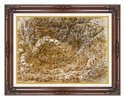 Leonardo Da Vinci A Deluge canvas with dark regal wood frame