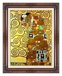 Gustav Klimt Fulfillment Detail canvas with dark regal wood frame