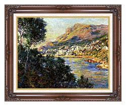 Claude Monet Monte Carlo Seen From Roquebrune canvas with dark regal wood frame