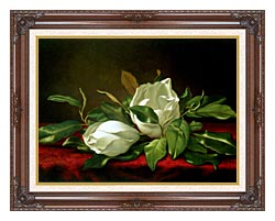 Martin Johnson Heade Giant Magnolias canvas with dark regal wood frame