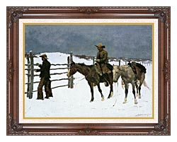 Frederic Remington The Fall Of The Cowboy canvas with dark regal wood frame