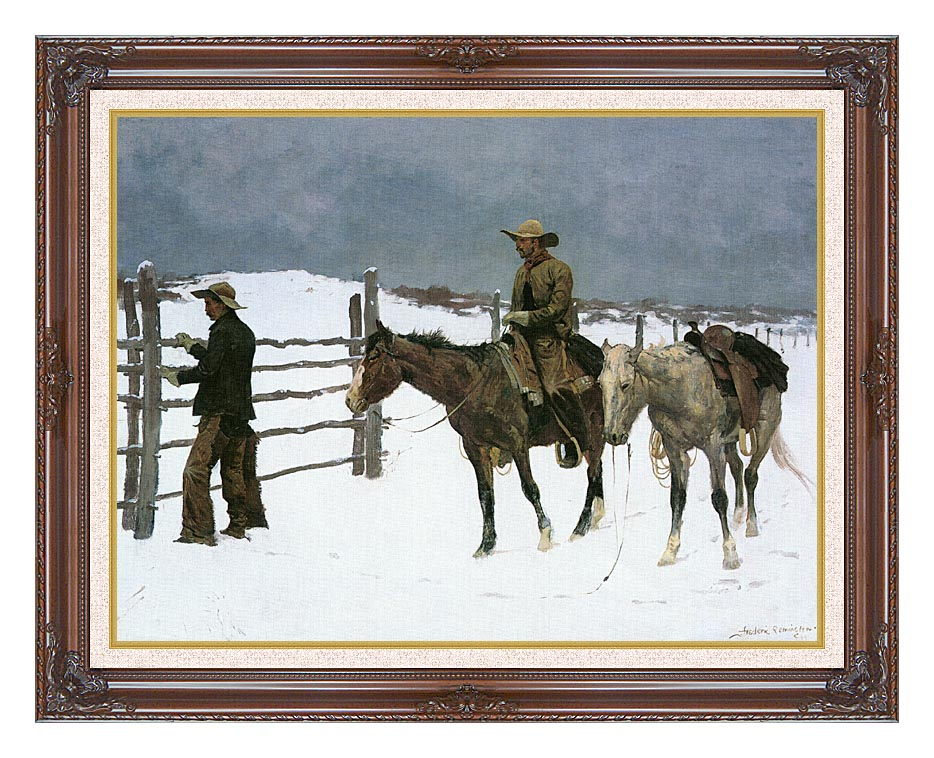 Frederic Remington The Fall of the Cowboy with Dark Regal Frame w/Liner