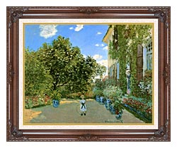 Claude Monet Monets House At Argenteuil canvas with dark regal wood frame