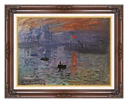 Claude Monet Impression Sunrise canvas with dark regal wood frame