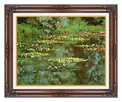 Claude Monet Nympheas 1906 Detail canvas with dark regal wood frame