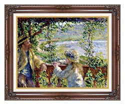 Pierre Auguste Renoir By The Lake canvas with dark regal wood frame