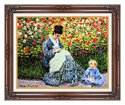 Claude Monet Camille Monet And Child In The Garden canvas with dark regal wood frame