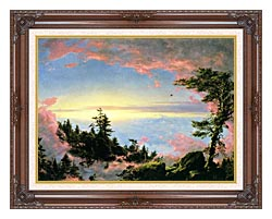 Frederic Edwin Church Above The Clouds At Sunrise canvas with dark regal wood frame
