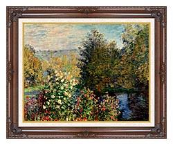 Claude Monet Corner Of A Garden At Montgeron canvas with dark regal wood frame