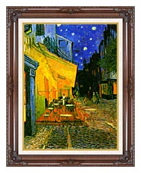 Vincent Van Gogh Cafe Terrace At Night Detail canvas with dark regal wood frame