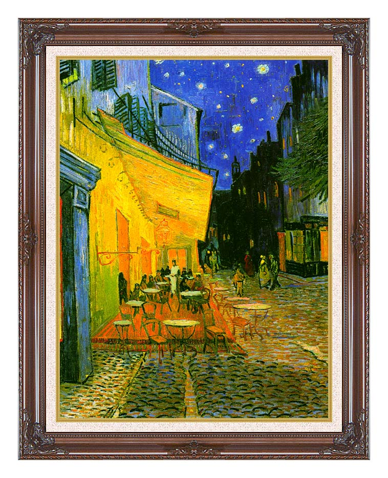 Vincent van Gogh Cafe Terrace at Night (detail) with Dark Regal Frame w/Liner