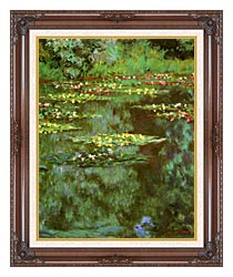 Claude Monet Nympheas 1906 Portrait Detail canvas with dark regal wood frame