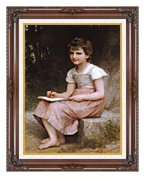 William Bouguereau A Calling canvas with dark regal wood frame