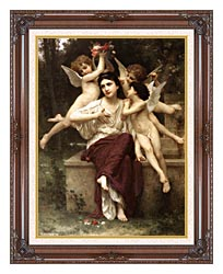 William Bouguereau A Dream Of Spring canvas with dark regal wood frame