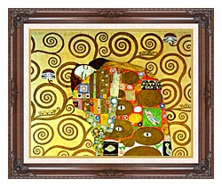 Gustav Klimt Fulfillment Close Up Detail canvas with dark regal wood frame